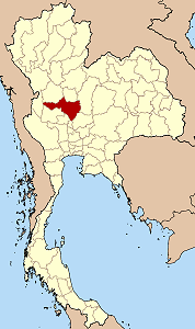 Map of Thailand highlighting Nakhon Sawan Province}