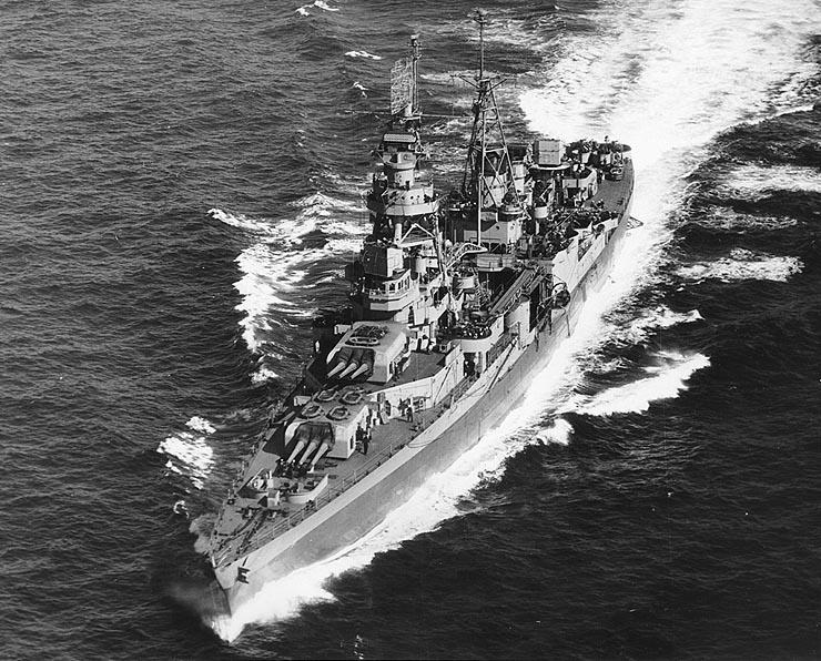 USS Augusta (CA-31) steaming off Portland, Maine (USA), on 9 May 1945 (NH 97932).jpg