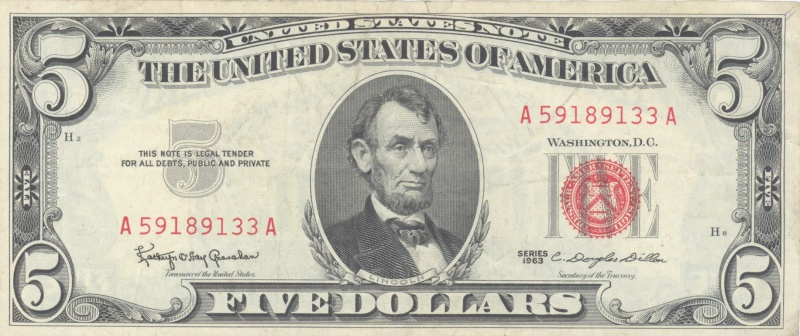 Abraham Lincoln Five Dollar Bill