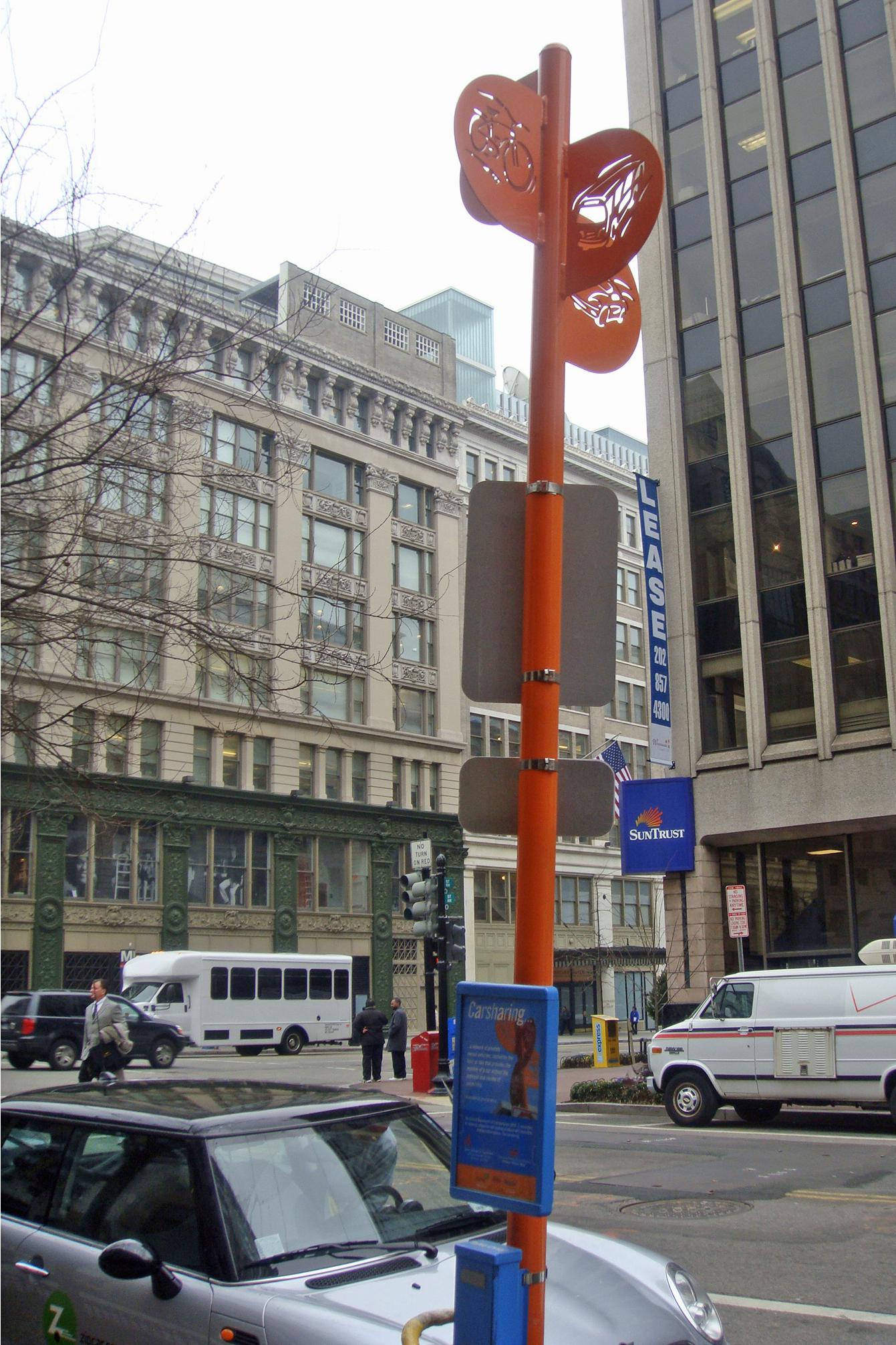 Zipcar drop off/pick up area in downtown Washington, D.C.