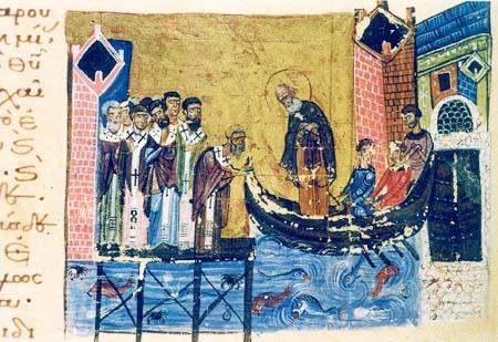 Григорий Богослов покидает Константинополь (миниатюра из рукописи XI века)
