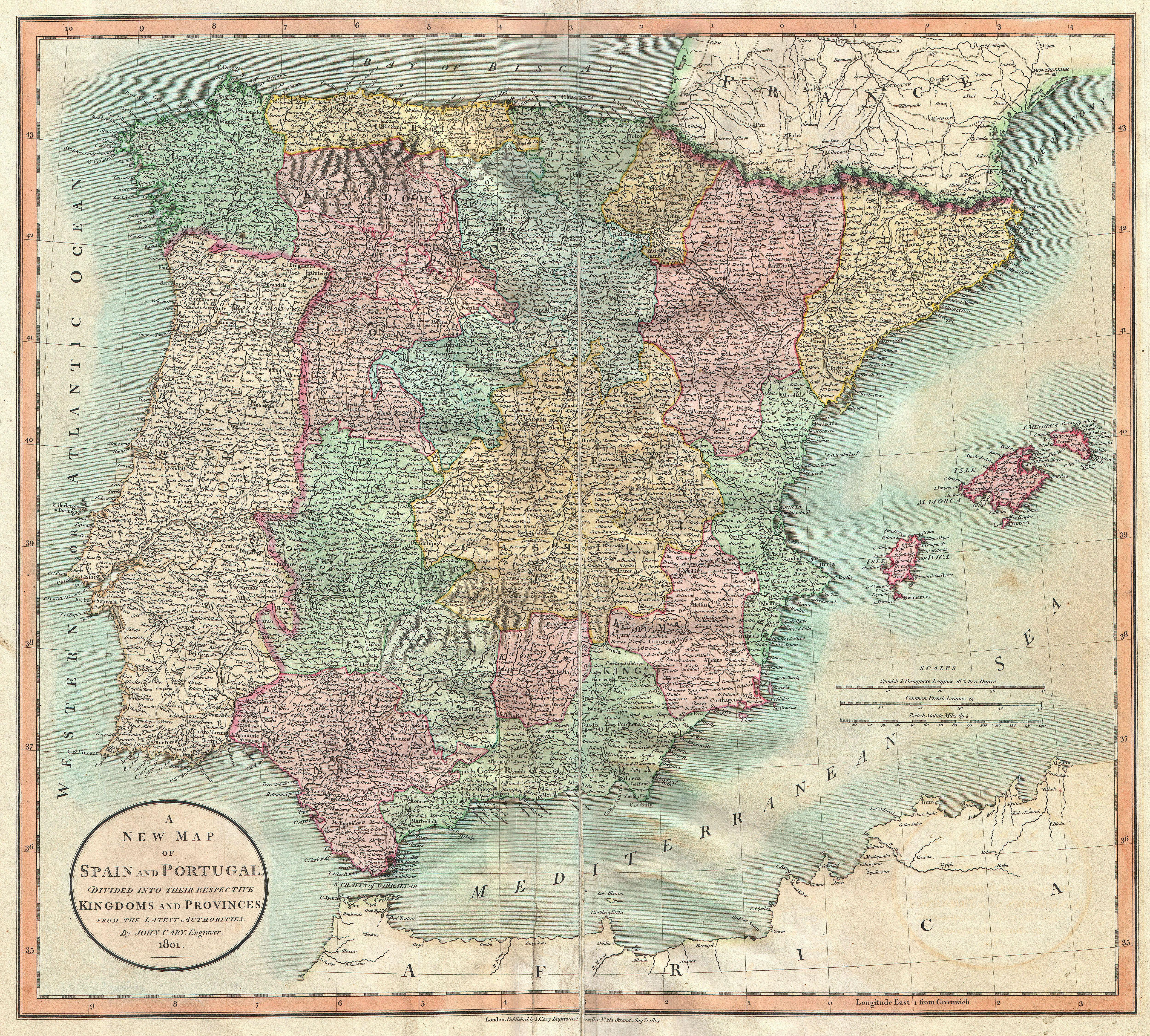Map Of Spain Jpg.File 1801 Cary Map Of Spain And Portugal Geographicus