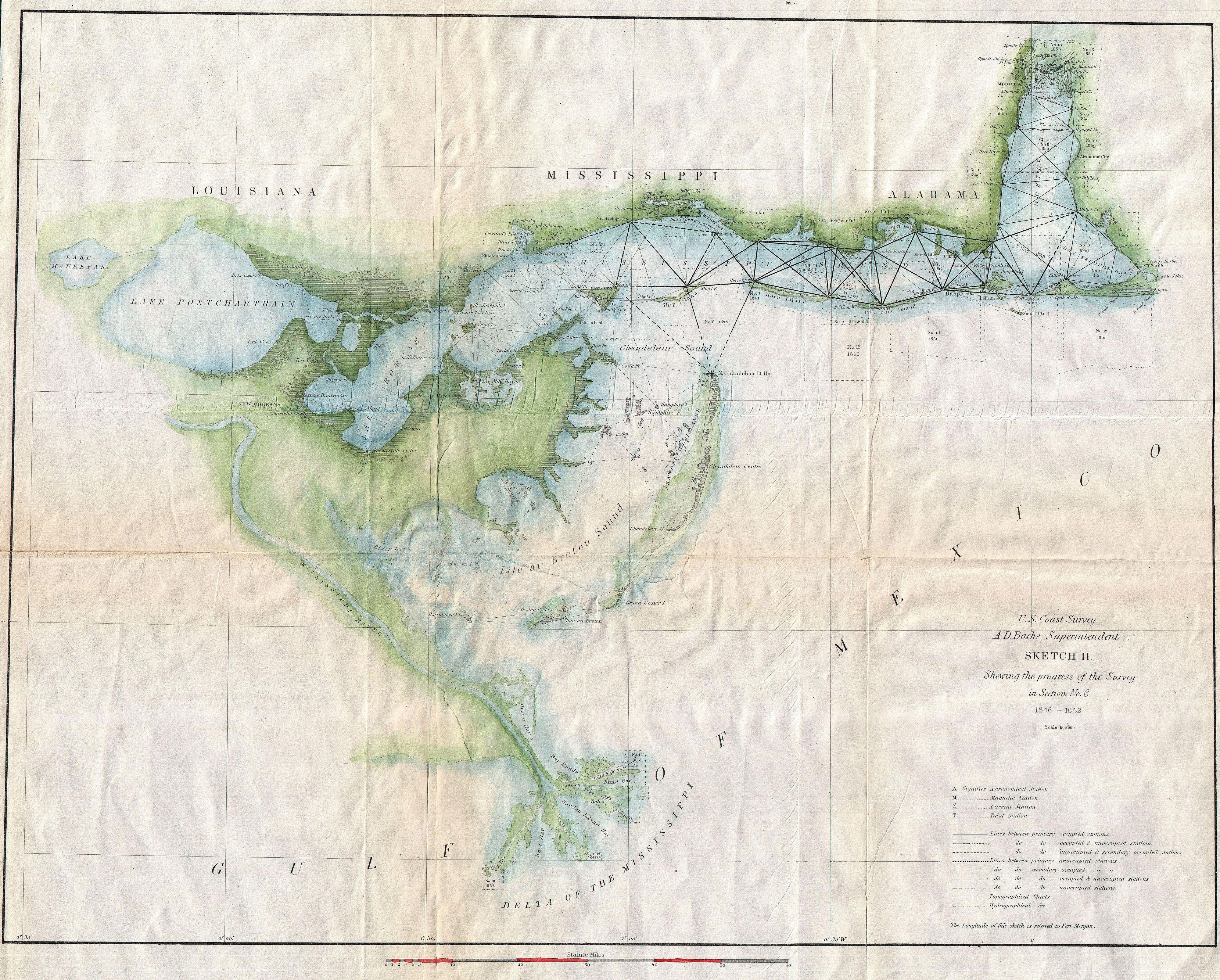 File:1853 U.S. Coast Survey Map of Lake Pontchartrain, New Orleans on