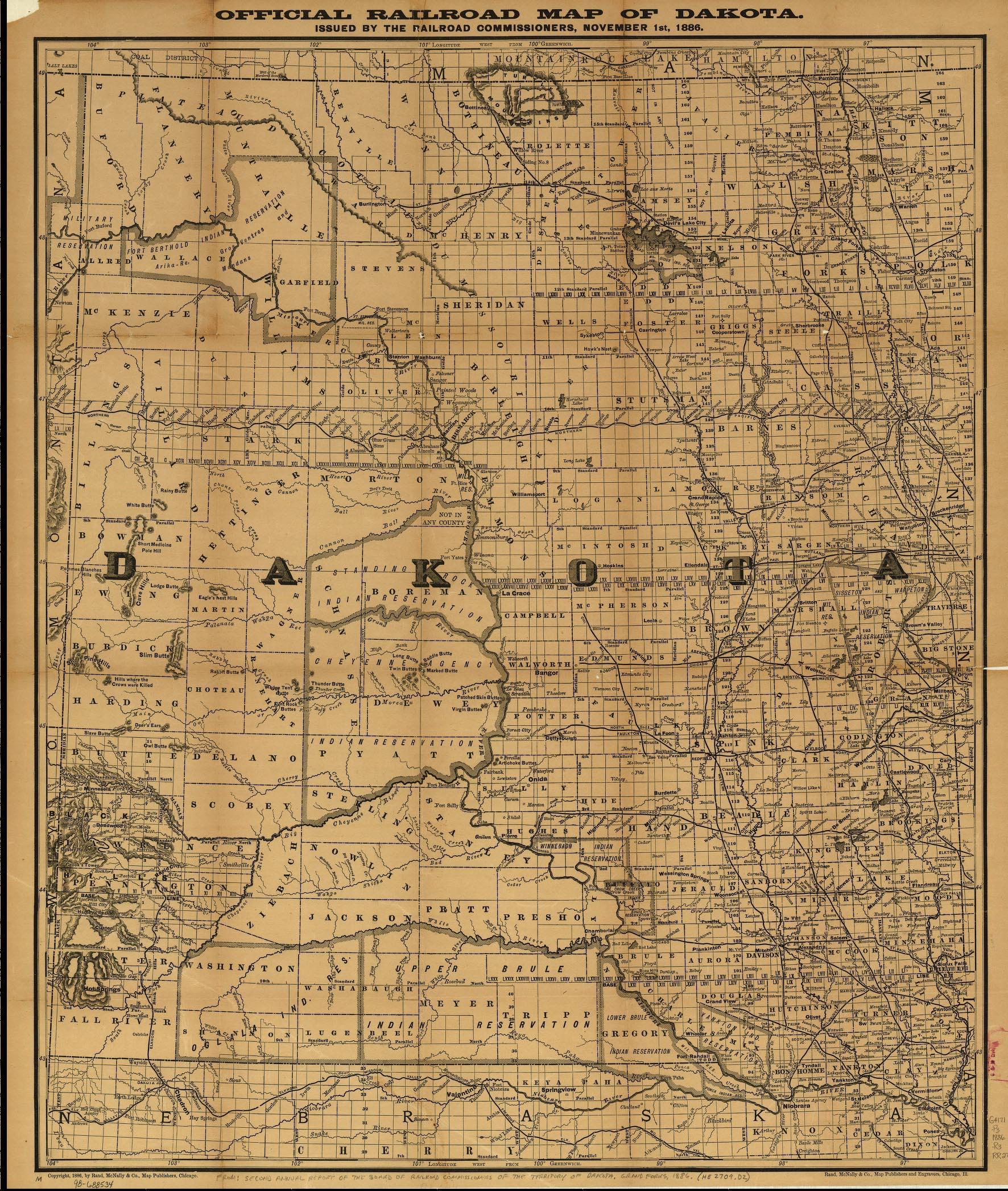 1886 map Dakota Territory