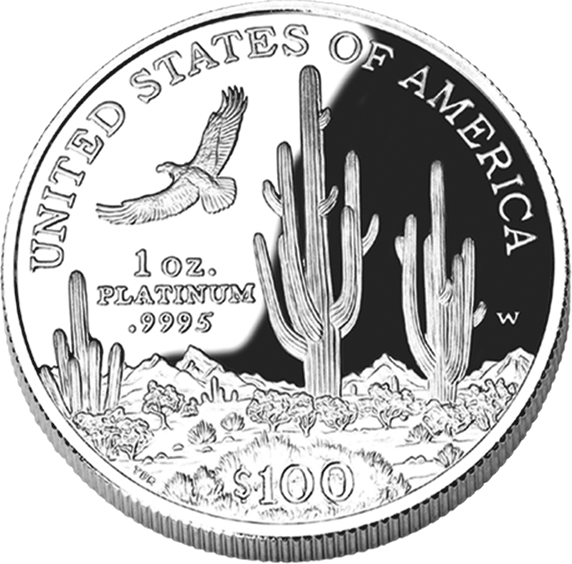 reverse side of the 2001 American Platinum Eagle proof coin