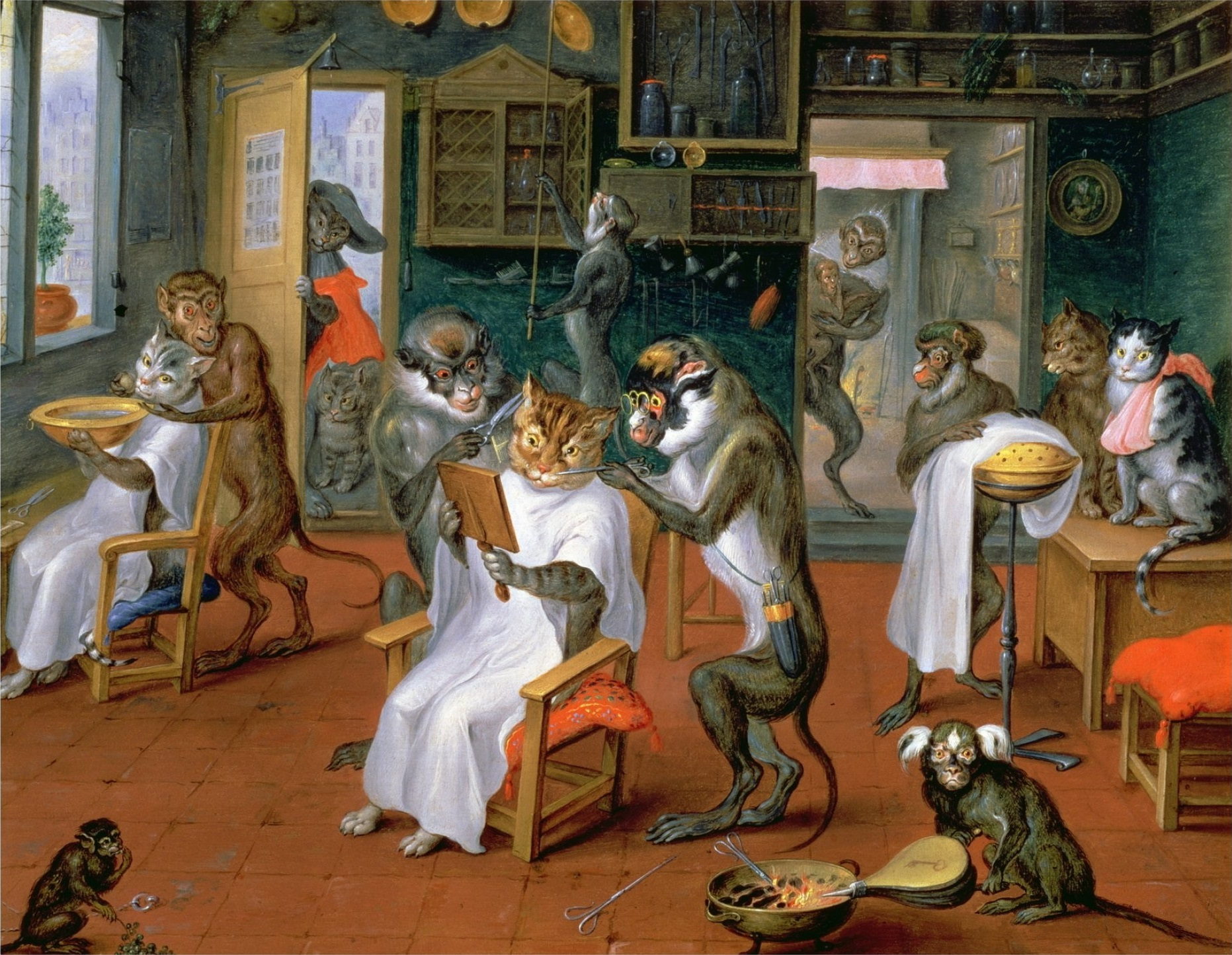 Painting of Barbershop with Monkeys and Cats by Abraham Teniers.