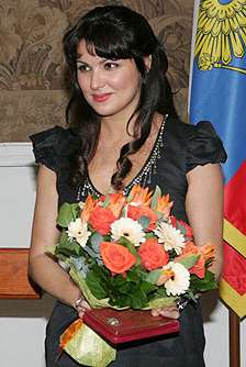 Netrebko at the Mariinsky Theatre after receiving the honorary title of People's Artist of Russia in 2008