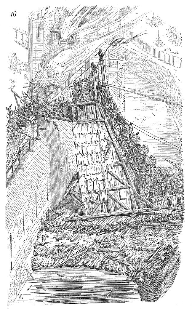 Desenho francês do século 19 representando uma torre de cerco medieval (Wikipedia)