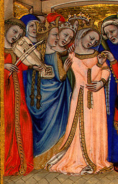 manuscript image of a wedding: one woman has hair in 2 hip-length braids