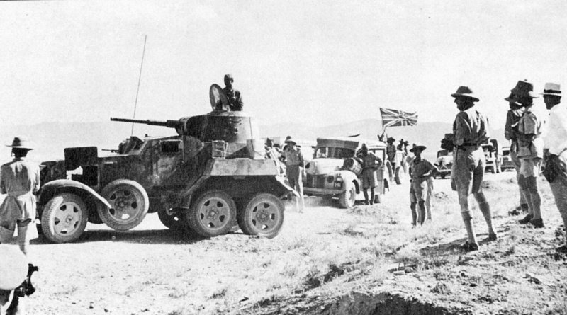 File:British supply convoy in Iran, headed by Soviet BA-10 armored vehicle.jpg