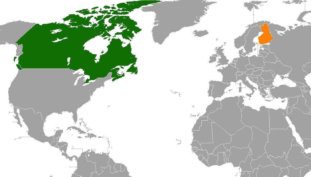 New Finland Canada Map Canada–Finland relations   Wikipedia