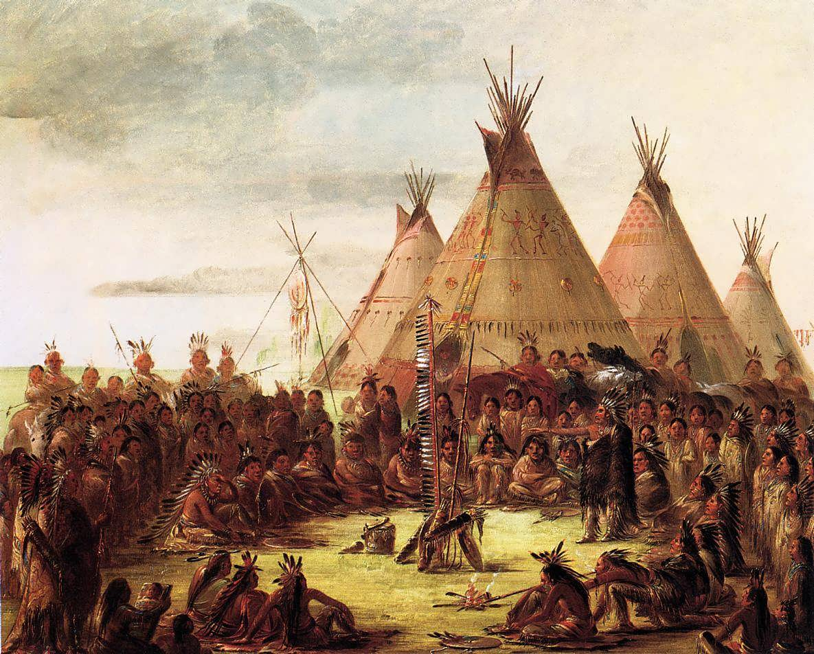 Tipis painted by George Catlin who visited a n...