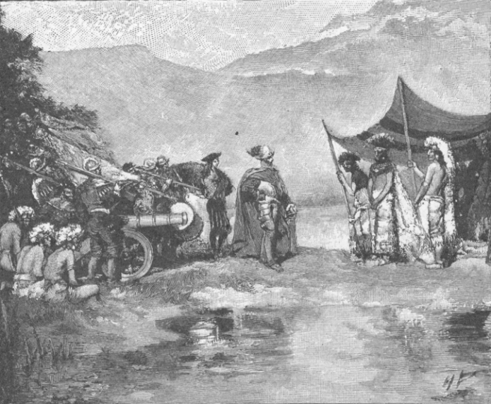Meeting of Cortes and Montezuma.  Edward R. Shaw, 1900