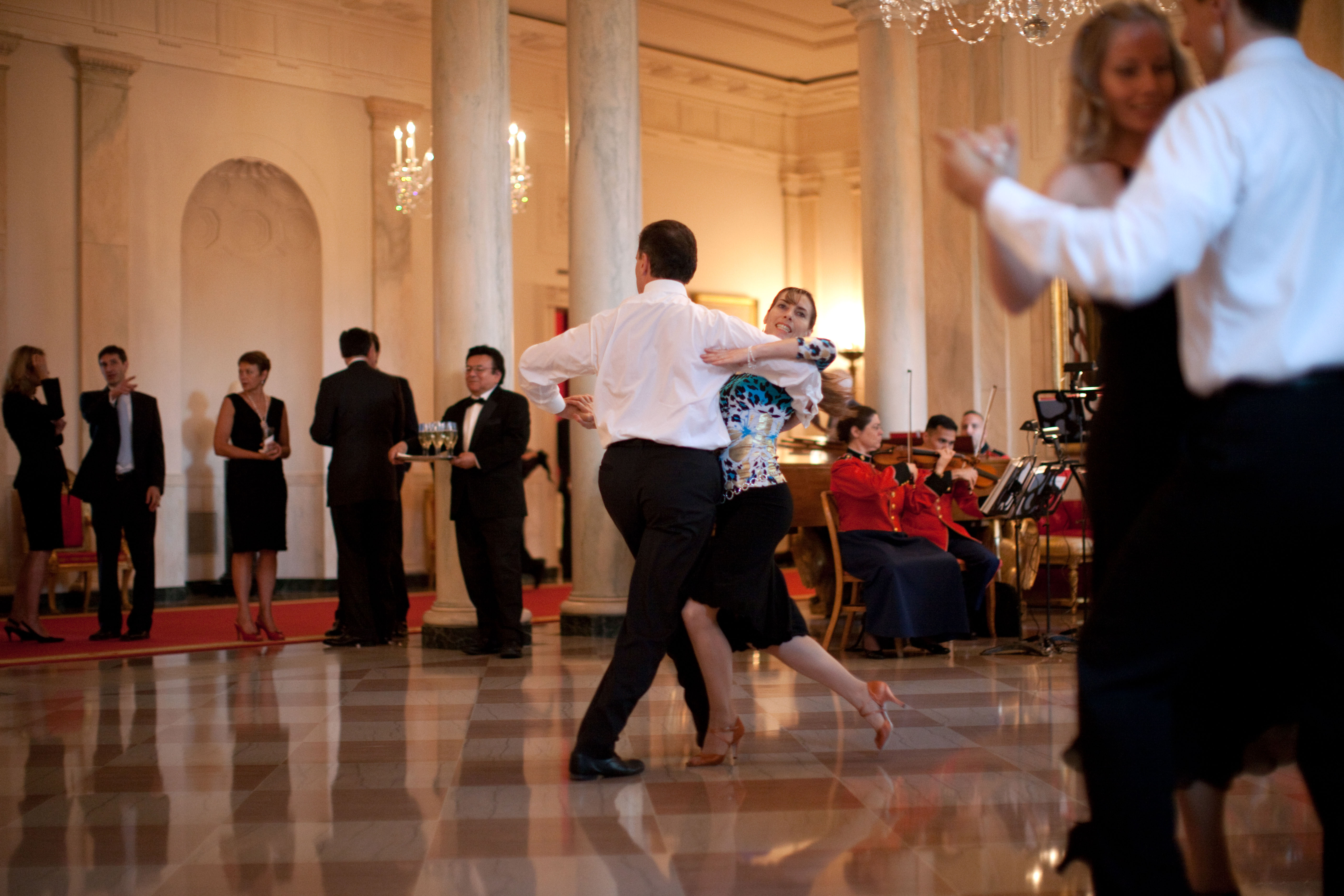 Grand Foyer White House : File dancers in the grand foyer of white house during