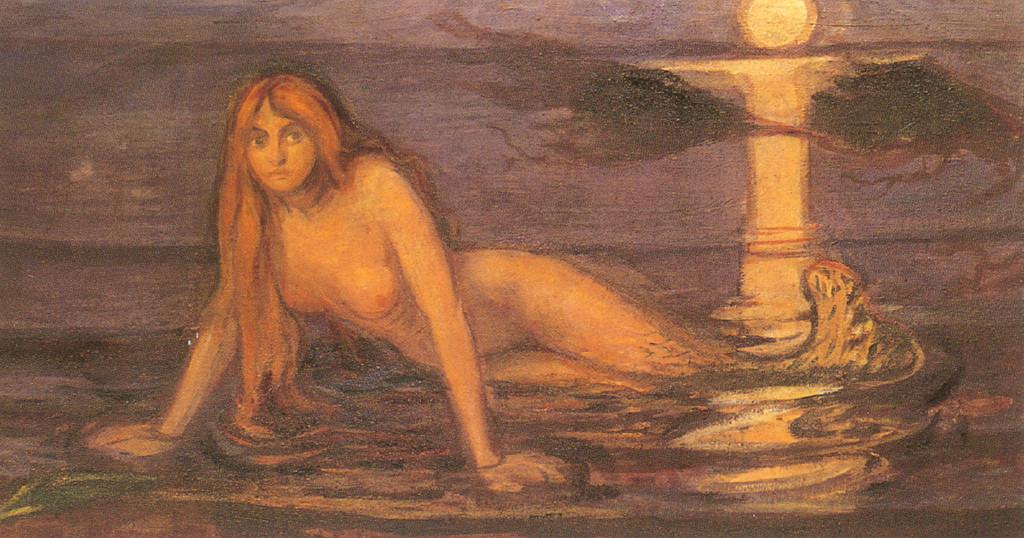 پریان دریایی نیز در آثار مونک زیبا نیستند و به ستوه آمده اند. حتی آب دریا نیز بر تن آنان به سان مایعی لزج و وصله ای ناجور جلوه می کند
