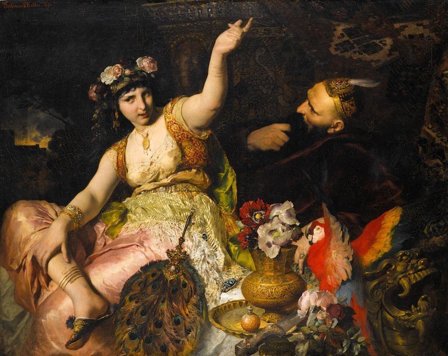 Aladino e la lampada meravigliosa Ferdinand_Keller_-_Scheherazade_und_Sultan_Schariar_%281880%29