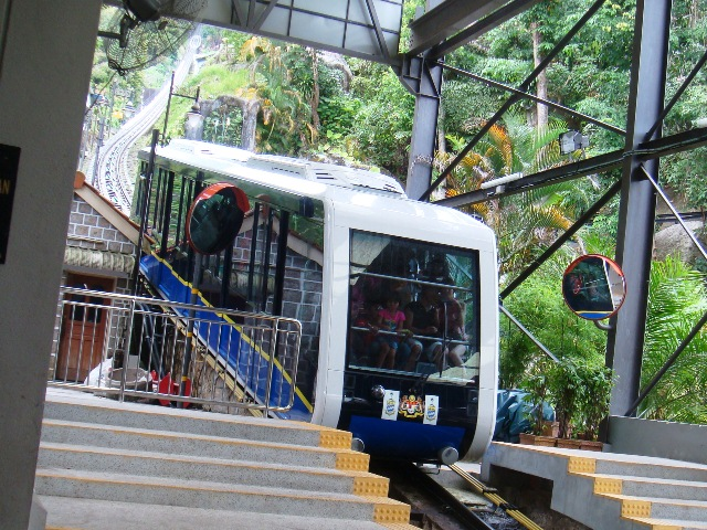 Malaysia's funicular railway system, the Penang Hill Railway. Image captured by user (WT-shared) Shoestring at wts wikivoyage, licensed by CC BY-SA 4.0
