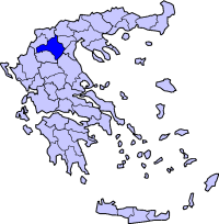 Location of Kozani Prefecture in Greece