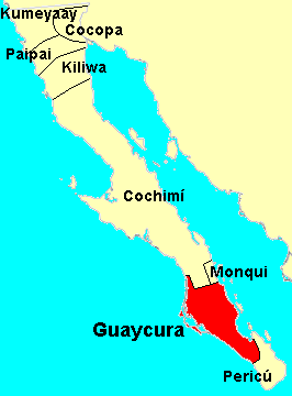 The location of the Indian peoples of Baja California. Guaycuras.png