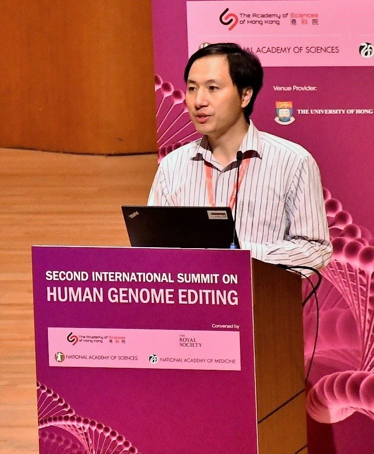 He Jiankui at Second International Summit on Human Genome Editing (cropped).jpg