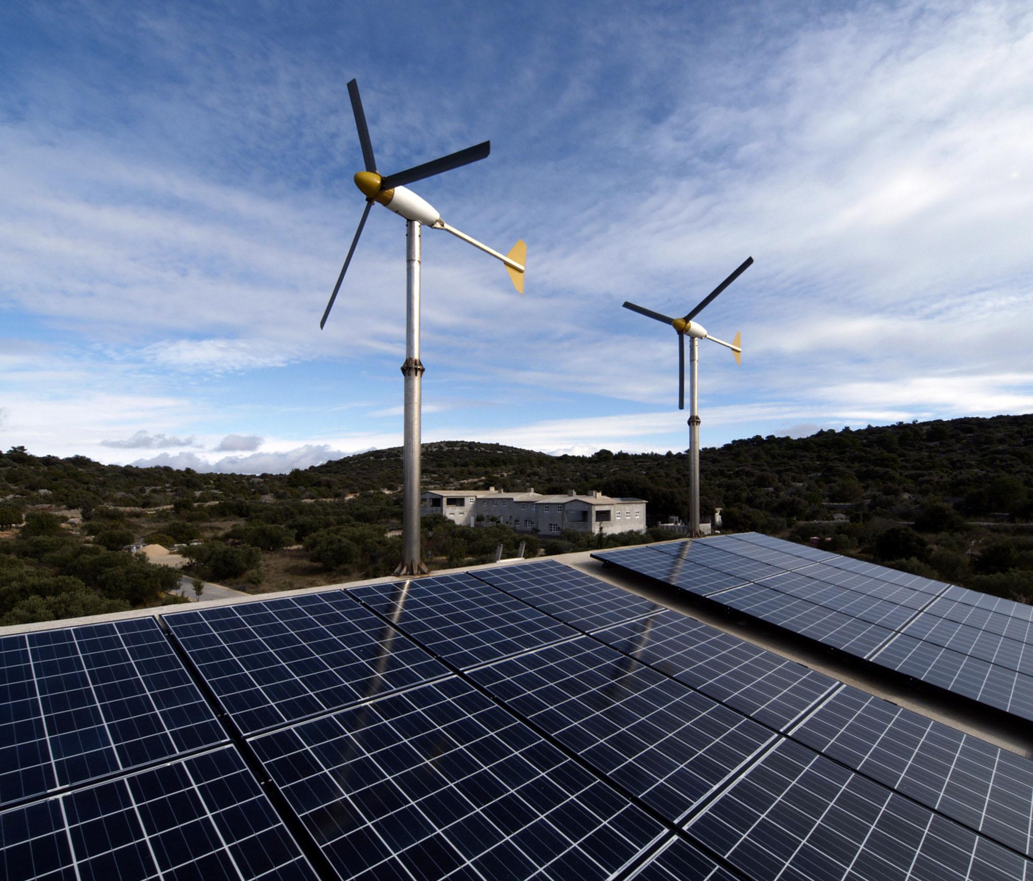 File:Hybrid system, 2400W windturbines, 4000W solar modules, island Zirje, Croatia.jpg - Wikimedia Commons
