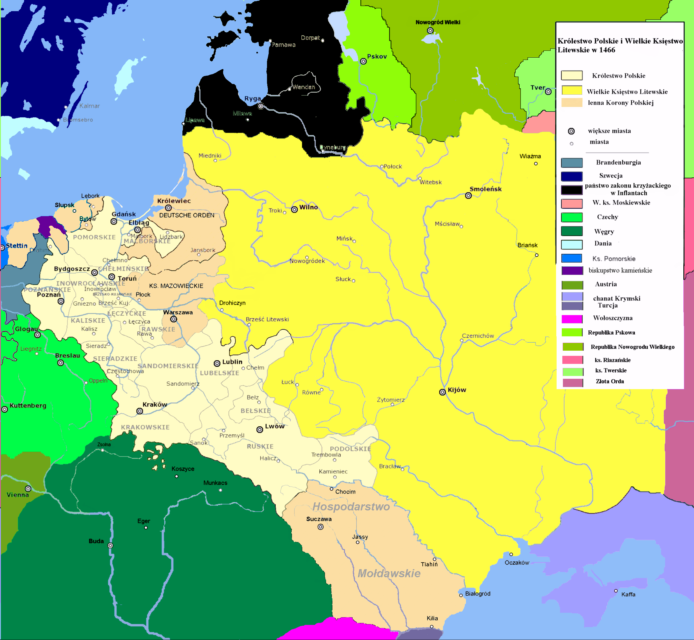 succeeded in 1569 by the polish lithuanian commonwealth large parts of present day belarus and ukraine were part of poland lithuania this map shows