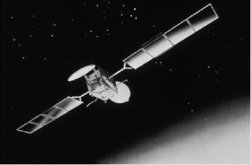 "A depiction of an Inmarsat-3 series satellite. Flight 370 was in contact with Inmarsat-3 F1 (also known as ""IOR"" for Indian Ocean Region). Inmarsat-3 crop.jpg"