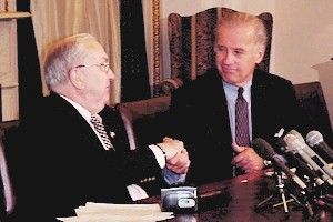 Helms with Joe Biden in 1999 Joe Biden and Jesse Helms.jpg