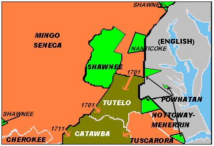 Approximate linguistic divisions c. AD 1700. The Powhatan, Tutelo and Nottoway-Meherrin were tributary to English; the Shawnee were tributary to the Seneca at this time. Languages in VA circa 1700AD.jpg