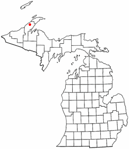 Location of Franklin Mine, Michigan