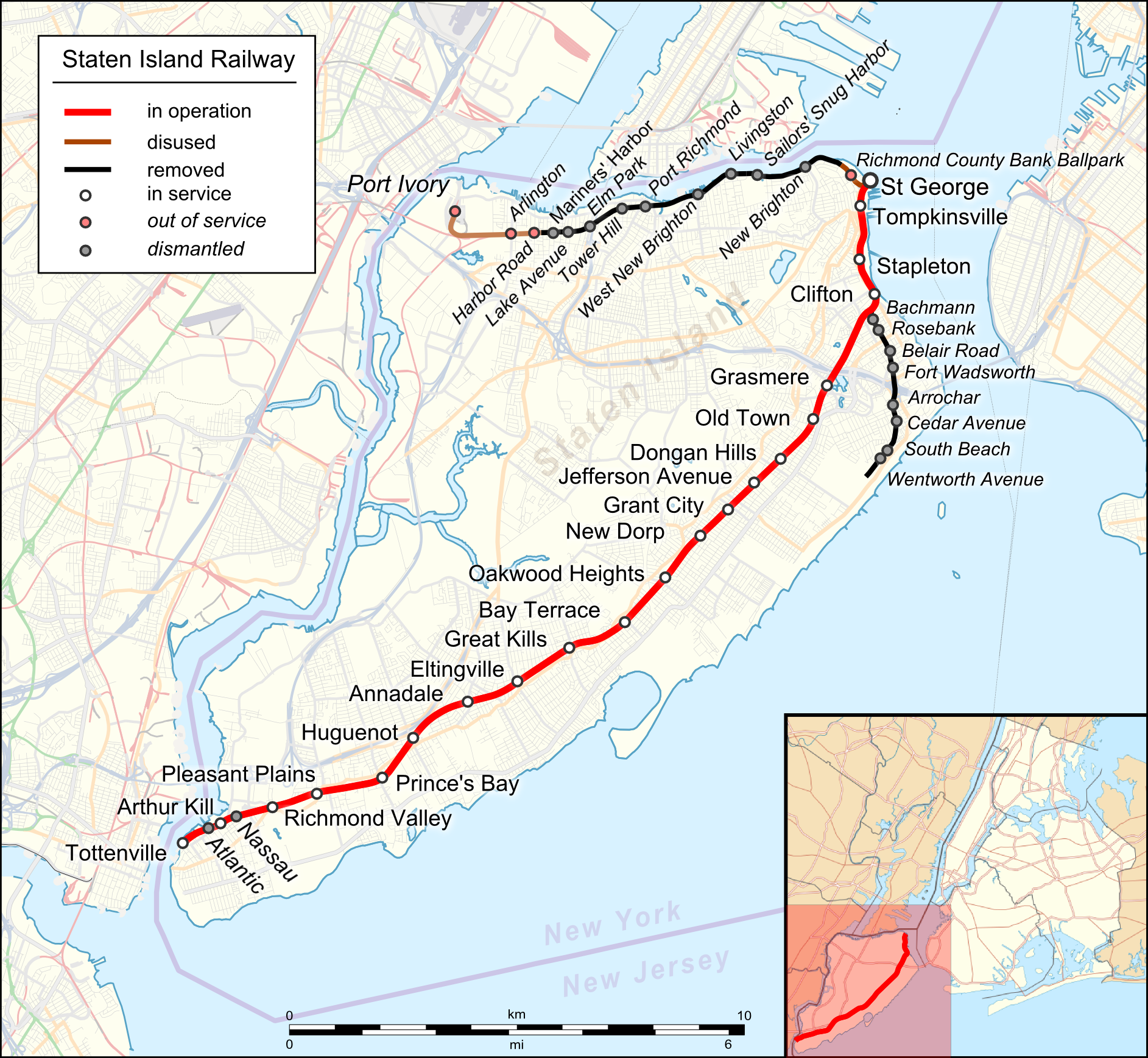 File:Map Staten Island Railway en.png - Wikimedia Commons on map of brooklyn staten island, map of tottenville staten island, map of mariners harbor staten island, map of oakwood staten island, map of castleton corners staten island, map of new dorp staten island, map of great kills staten island, map of grasmere staten island, map of rosebank staten island, map of west brighton staten island, map of willowbrook staten island, map of eltingville staten island, map of park hill staten island, map of stapleton staten island, map of tompkinsville staten island, map of south beach staten island, map of fort wadsworth staten island, map of graniteville staten island, map of annadale staten island, map of wagner college staten island,