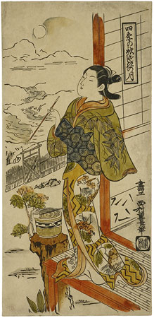 Nishimura Shigenaga - Four Seasons – Autumn Moon above the Reception Room