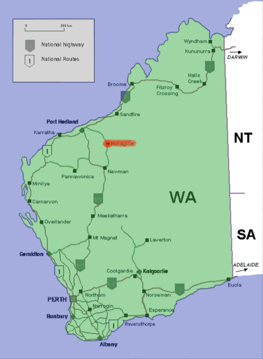 Nullagine Western Australia Wikipedia - Map of western australia with towns