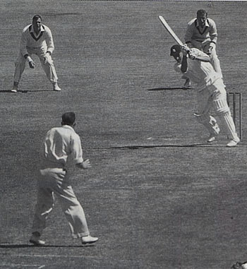 Peter May cracks another on-drive off Bill Johnston in 1954-55. He was England's top scorer in both the triumphs of 1954-55 and 1956 and the debacle of 1958-59 and was seen by many as England's greatest post-war batsman Peter May.jpg
