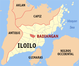 Map of Iloilo showing the location of Badiangan