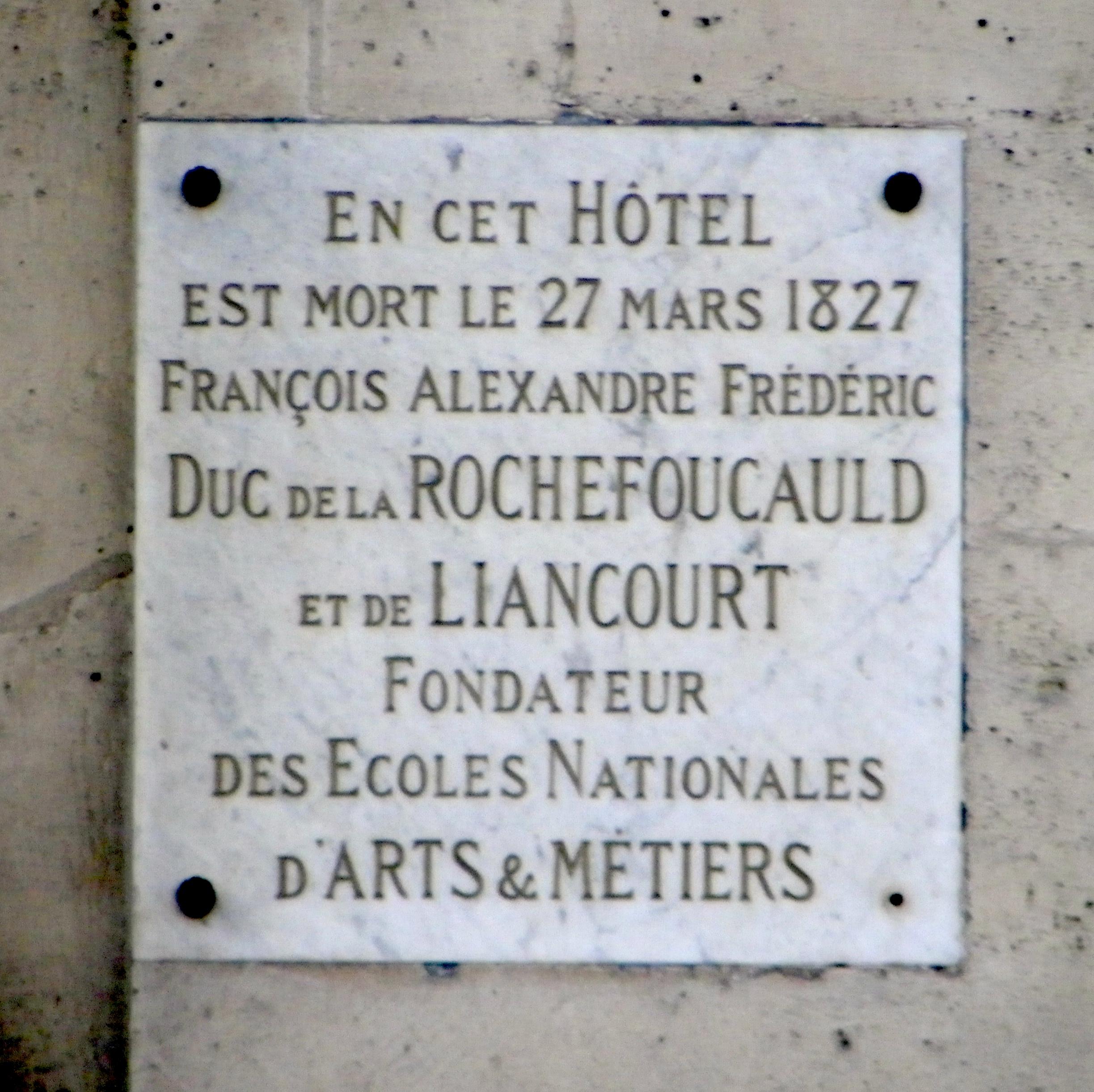 file plaque fran 231 ois de la rochefoucauld au 9 rue royale 224 jpg wikimedia commons