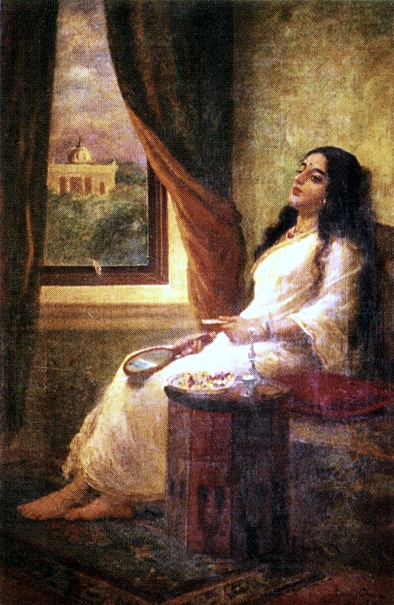 File:Raja Ravi Varma, In Contemplation.jpg - Wikimedia Commons