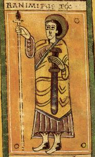 "Contemporary miniature of Ramiro of Viguera (Ranimirus rex, ""king Ramiro"", according to the superscription), bearing the sword and holding a sceptre, from the Codex Vigilanus"