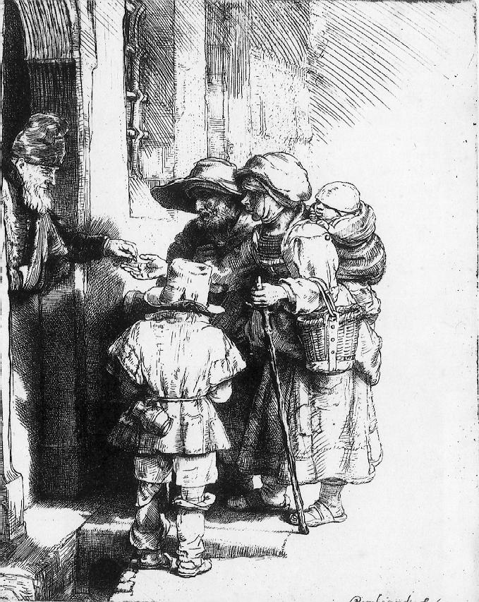 Rembrandt's Beggars at The Door of a House. 1648
