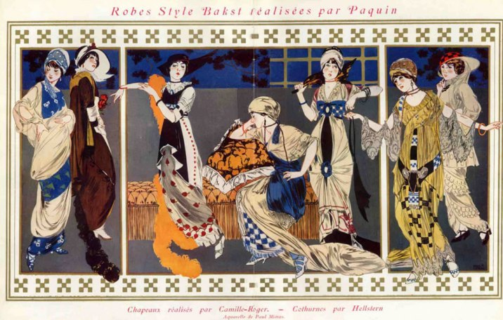 1912 dresses designed by Léon Bakst for Paquin
