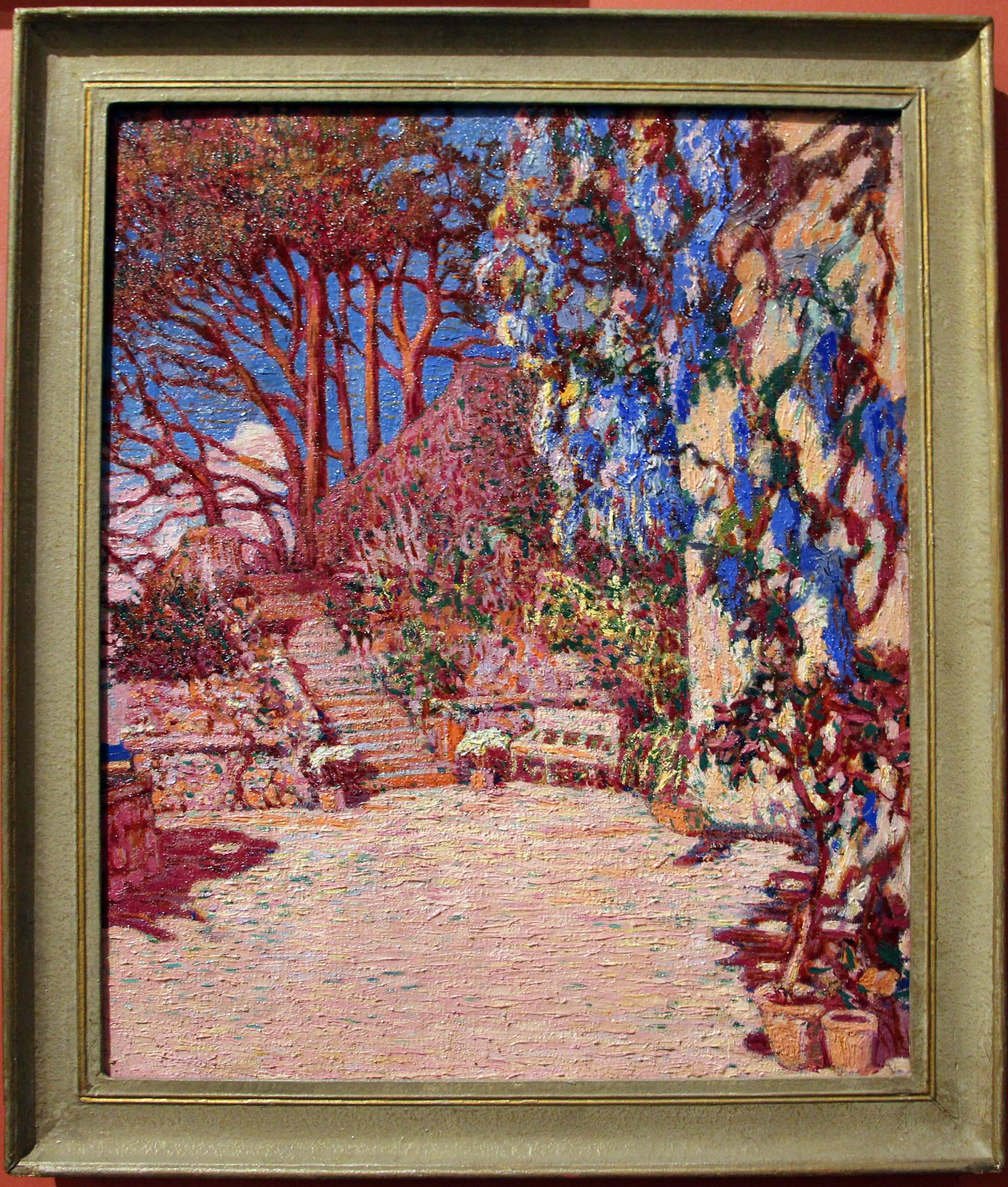 File:Rubaldo merello, terrazza fiorita o giardino con glicine, 1910 ...