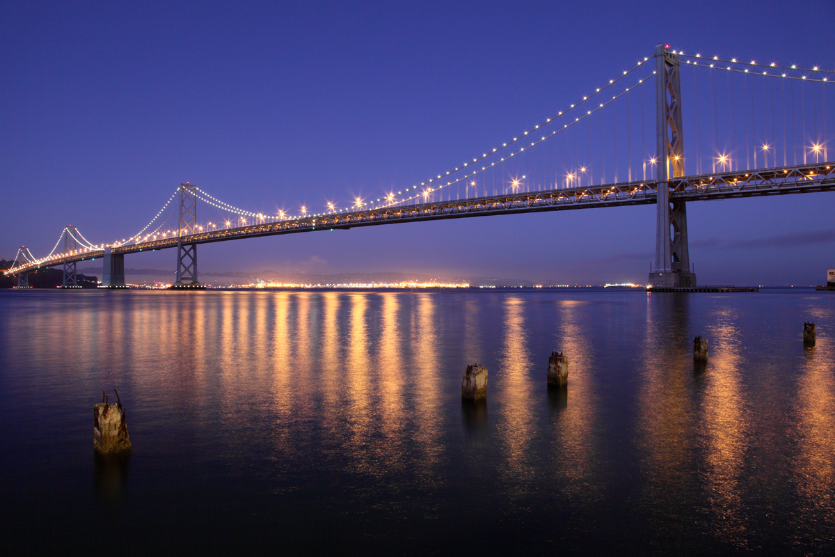 Description san francisco oakland bay bridge at night