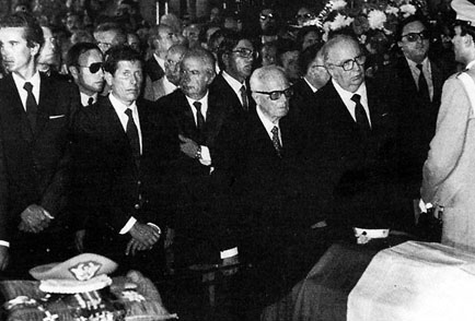 State funeral of General Carlo Alberto dalla Chiesa, his wife Emanuela Setti Carraro and agent Domenico Russo, assassinated by the Sicilian mafia on 3 September 1982. In the front row among others are President Sandro Pertini and Prime Minister Giovanni Spadolini. - State funeral