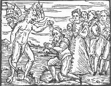 English: Satan baptizing a disciple, most like...