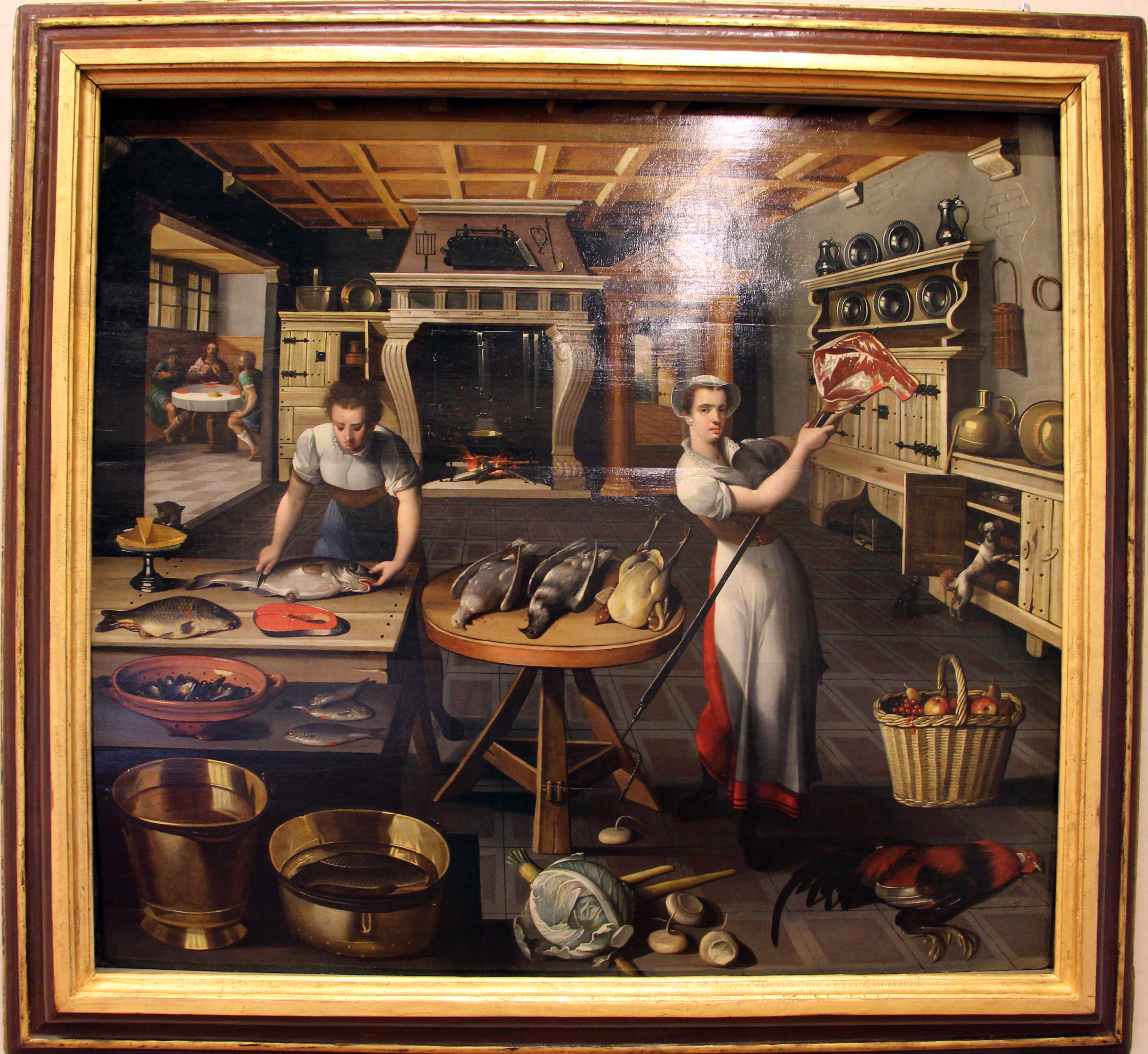 File Scuola Fiamminga Due Donne In Cucina Con Cena Di Emmaus Xvi Sec Jpg Wikimedia Commons