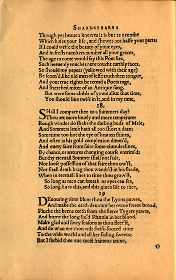 A facsimile of the original printing of Shakespeare's Sonnet 18