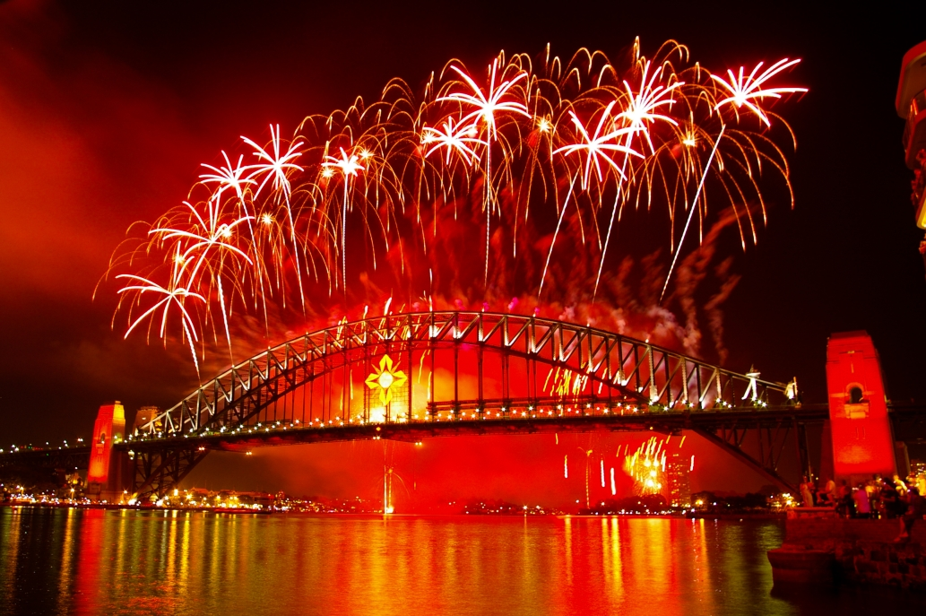 Fireworks over the bridge