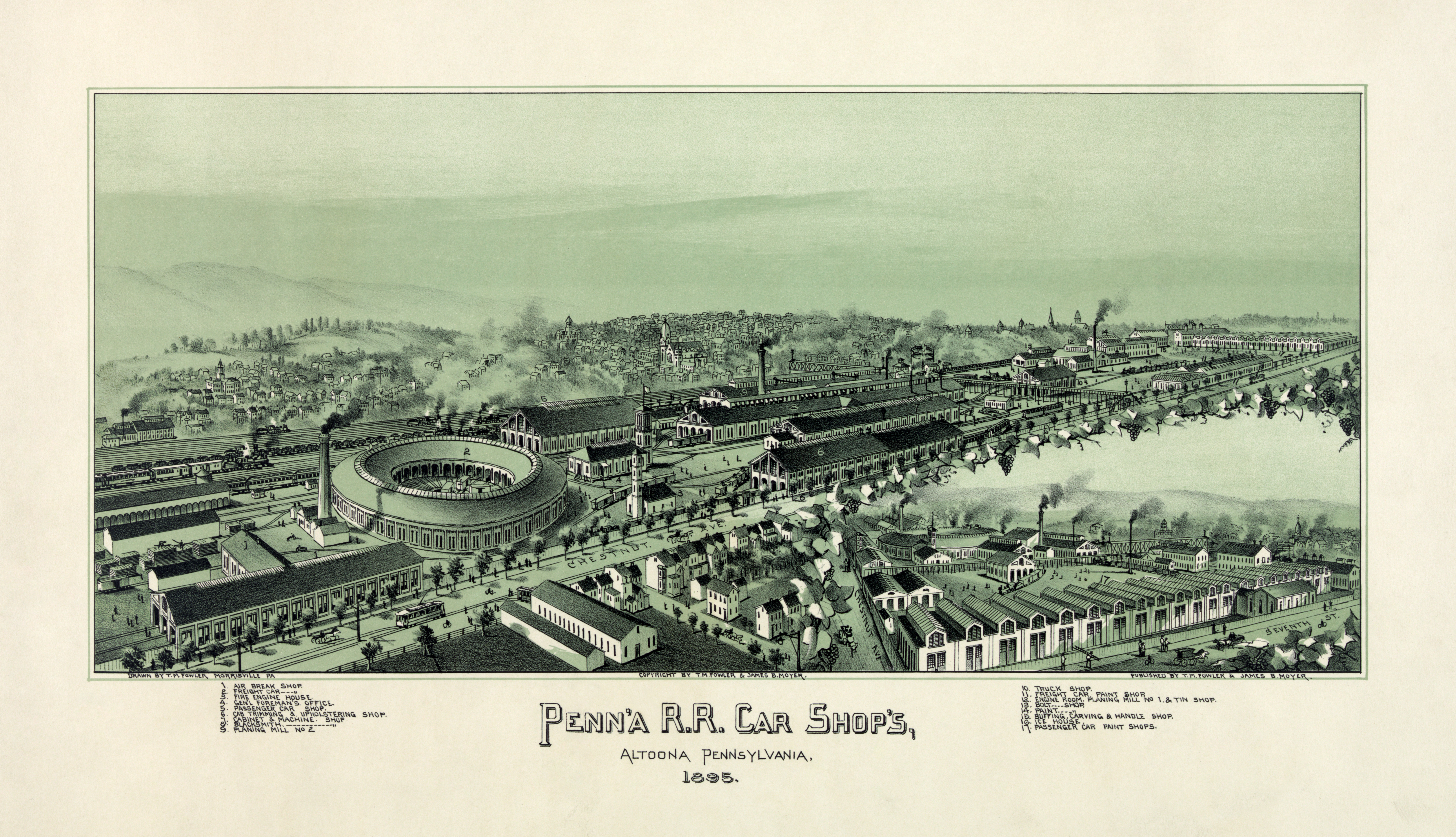 altoona pennsylvania altoona in 1895 a pennsylvania railroad town lithograph by thaddeus mortimer fowler