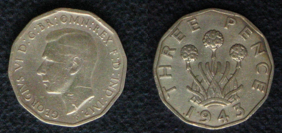 English threepence coin