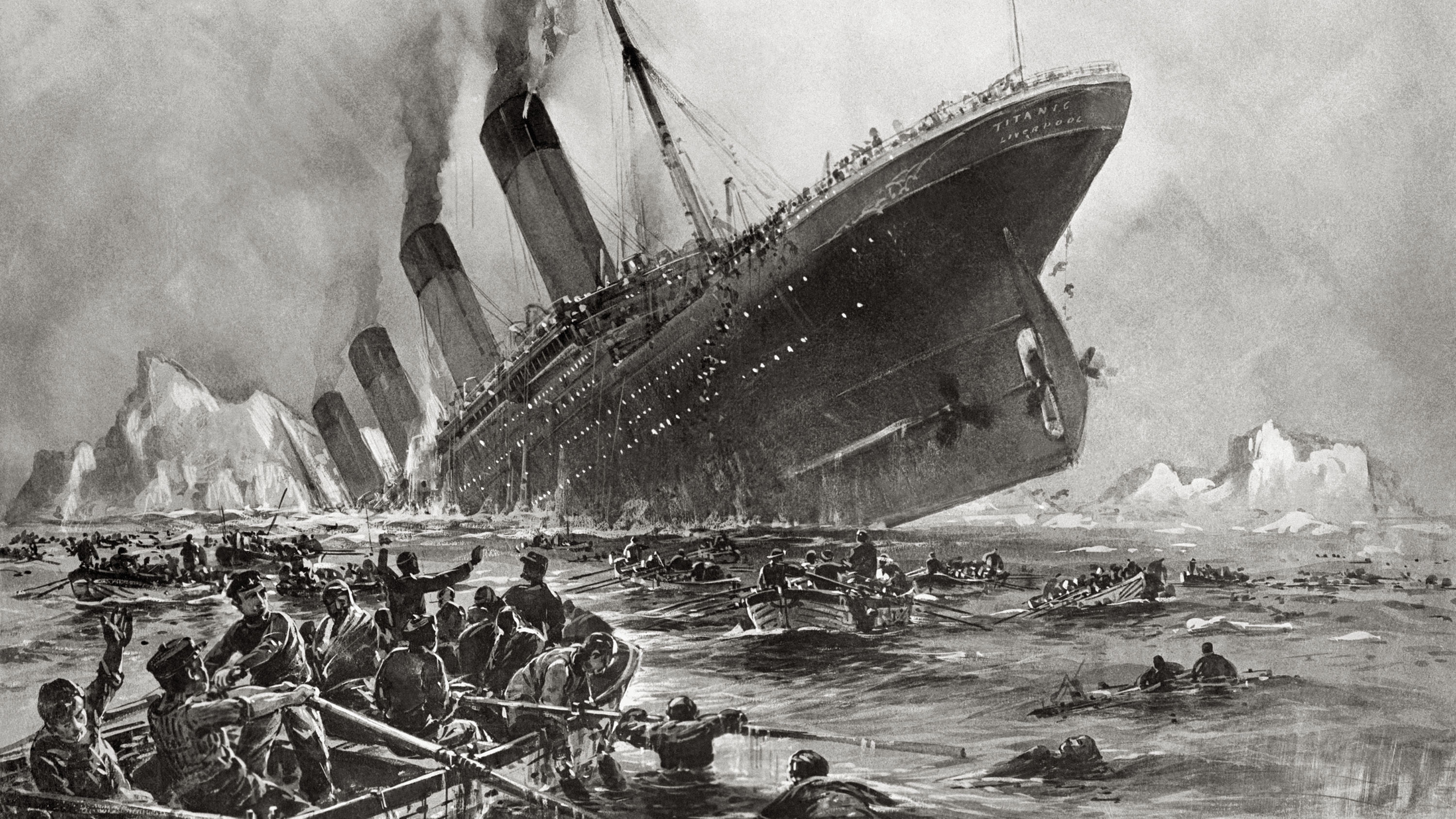 Titanic sinking, painting by Willy Stöwer
